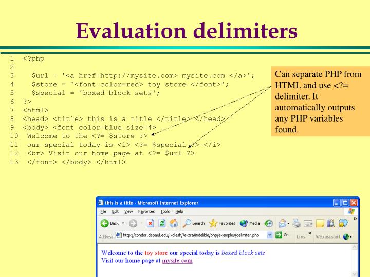 Evaluation delimiters