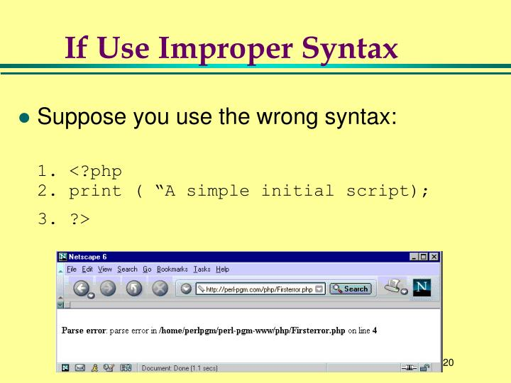 If Use Improper Syntax