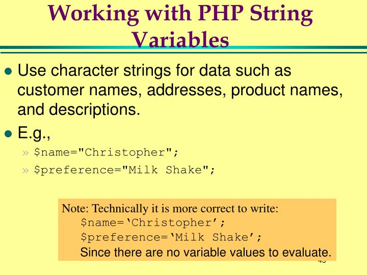 Working with PHP String Variables