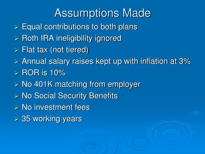 Assumptions Made