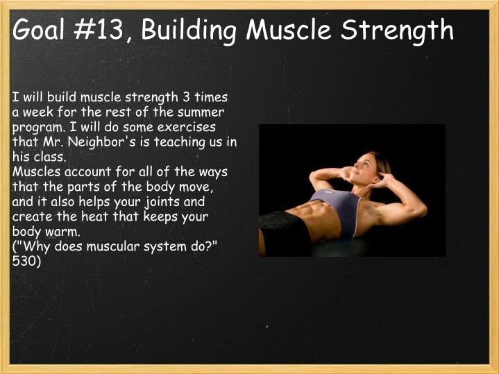 I will build muscle strength 3 times a week for the rest of the summer program. I will do some exercises that Mr. Neighbor's is teaching us in his class.