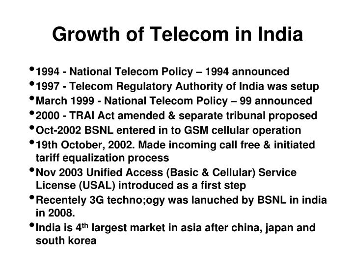 the major changes in the telecommunications sector Major telecom industry players the world telecommunications market is expected to rise at an 11-12% compound annual growth rate at the end of year 2011 the leading telecom companies like at&t, vodafone, verizon, sbc communications, bell south and qwest communications are trying to take the advantage of this growth.
