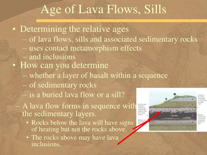 Age of Lava Flows, Sills