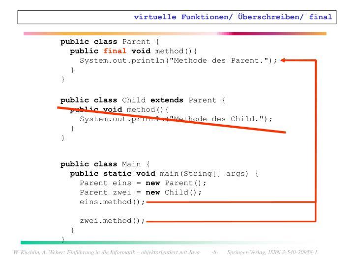 virtuelle Funktionen/ Überschreiben/ final