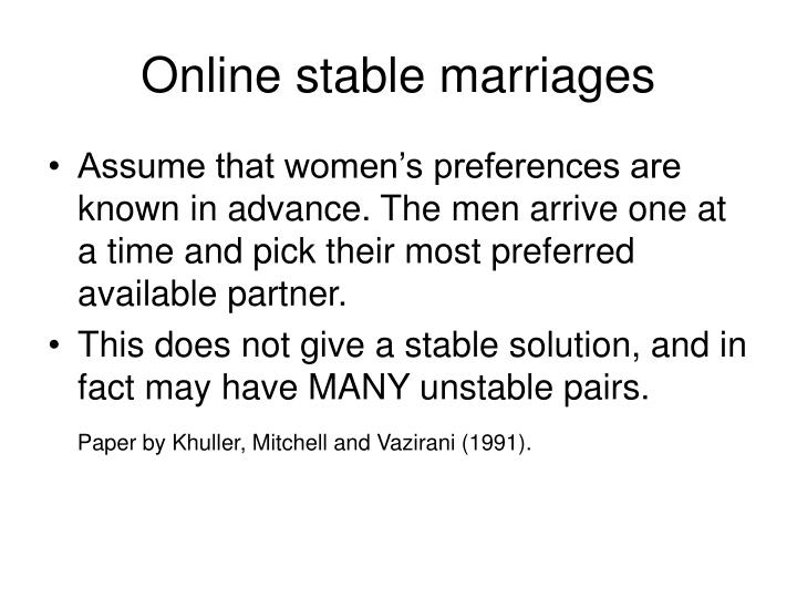 Online stable marriages