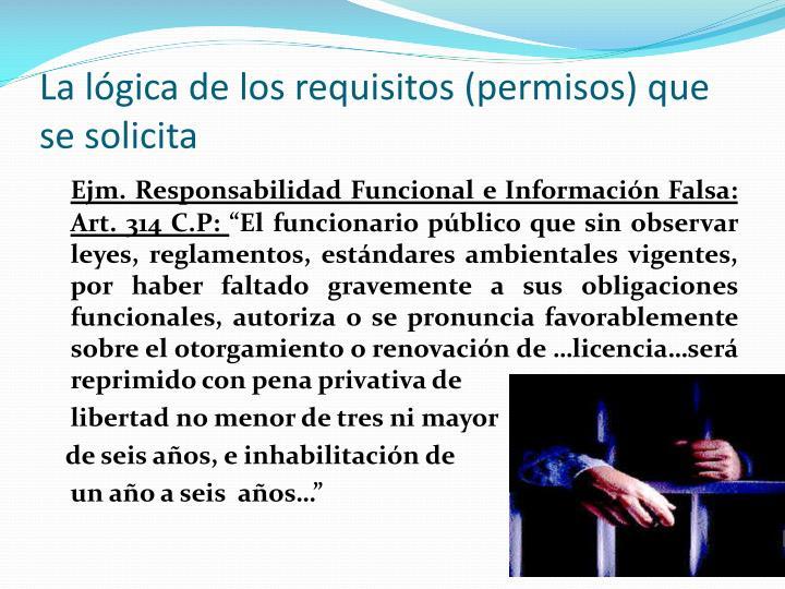 La lógica de los requisitos (permisos) que se solicita