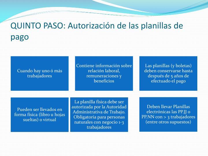 QUINTO PASO: Autorización de las planillas de pago