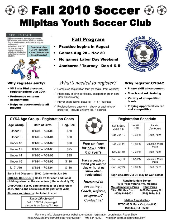fall 2010 soccer milpitas youth soccer club n.