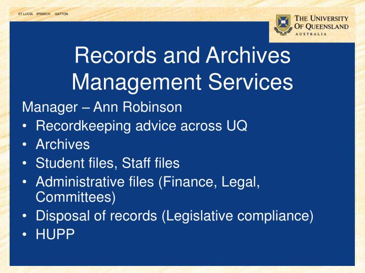 Records and Archives Management Services