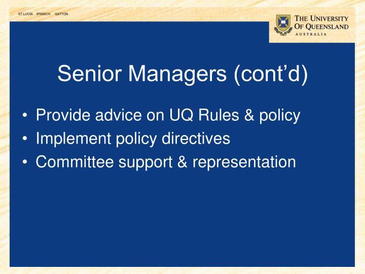 Senior Managers (cont'd)