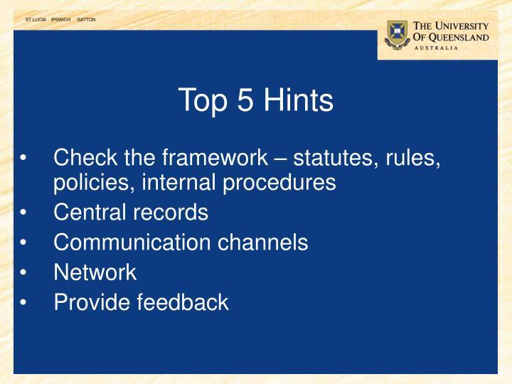 Top 5 Hints