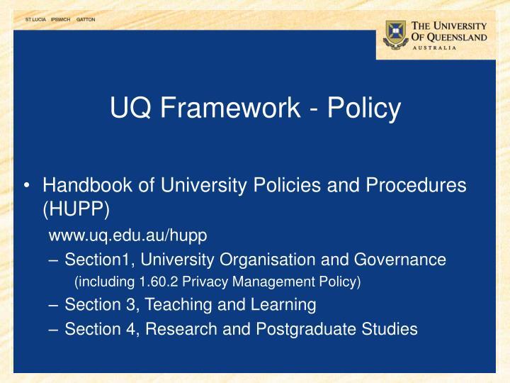 UQ Framework - Policy