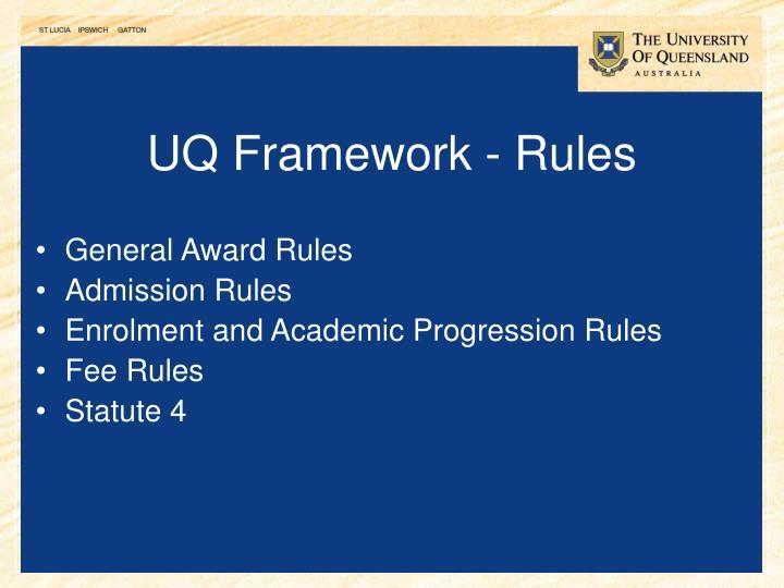 UQ Framework - Rules