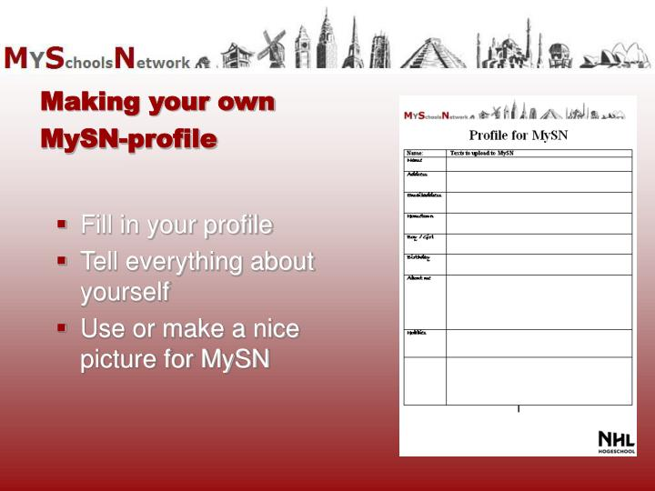 Fill in your profile