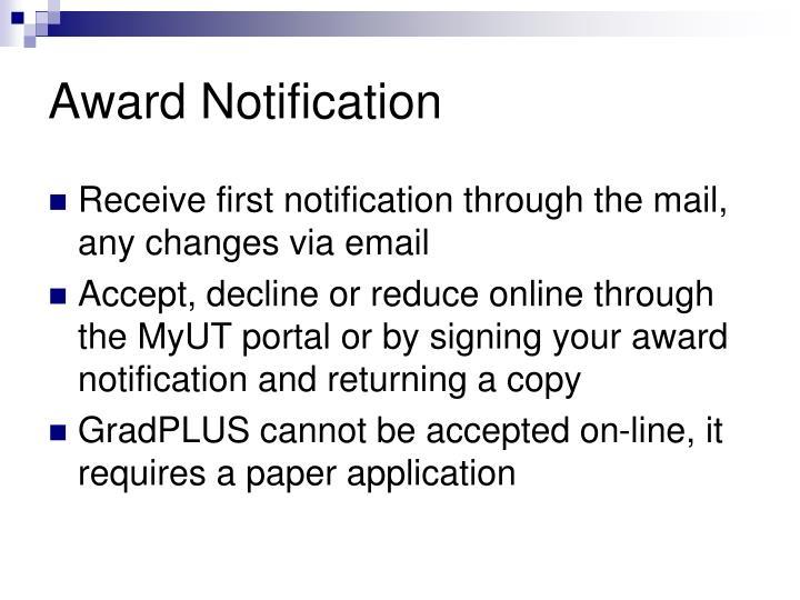 Award Notification