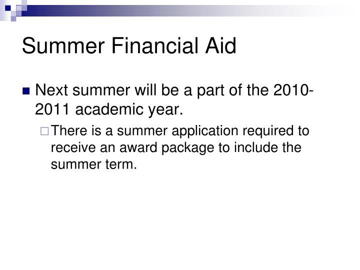 Summer Financial Aid