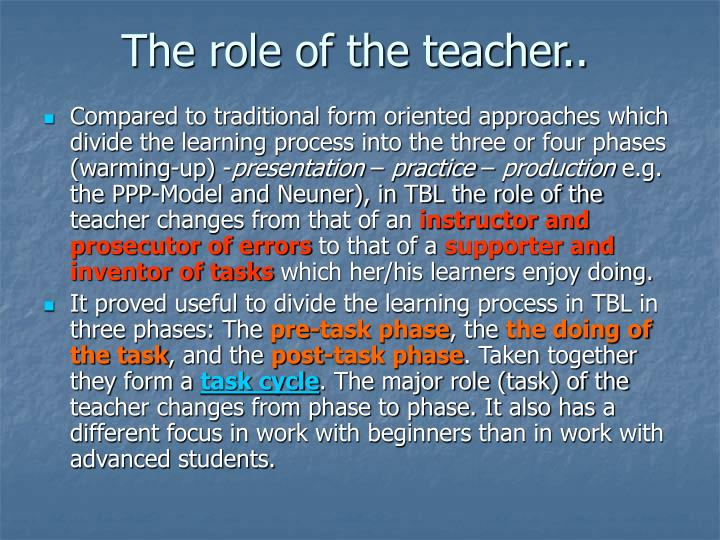 The role of the teacher..