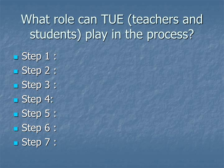 What role can TUE (teachers and students) play in the process?