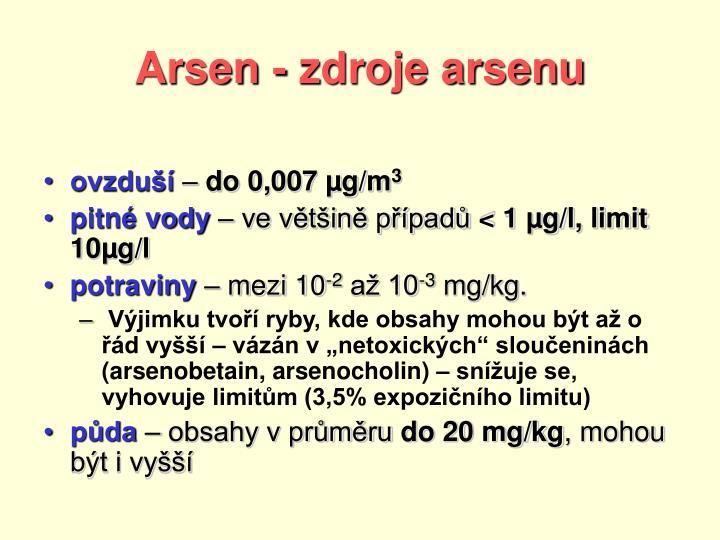 Arsen - zdroje arsenu
