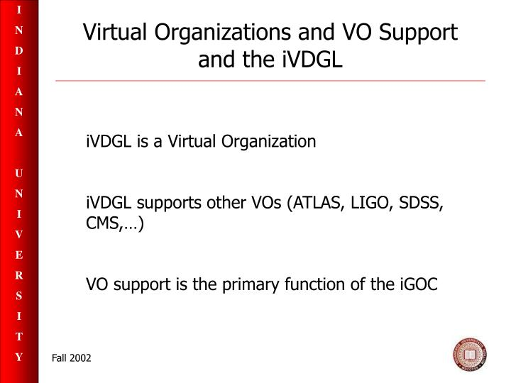 Virtual organizations and vo support and the ivdgl