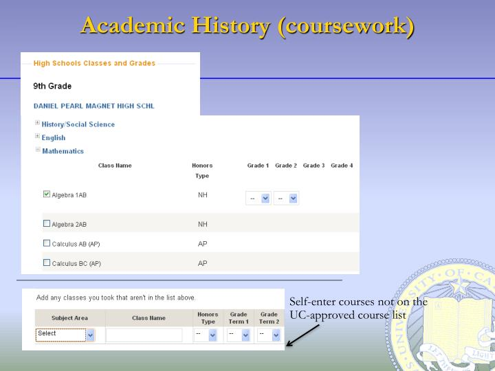 Academic History (coursework)