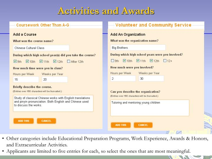 Activities and Awards