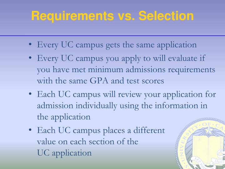 Requirements vs. Selection