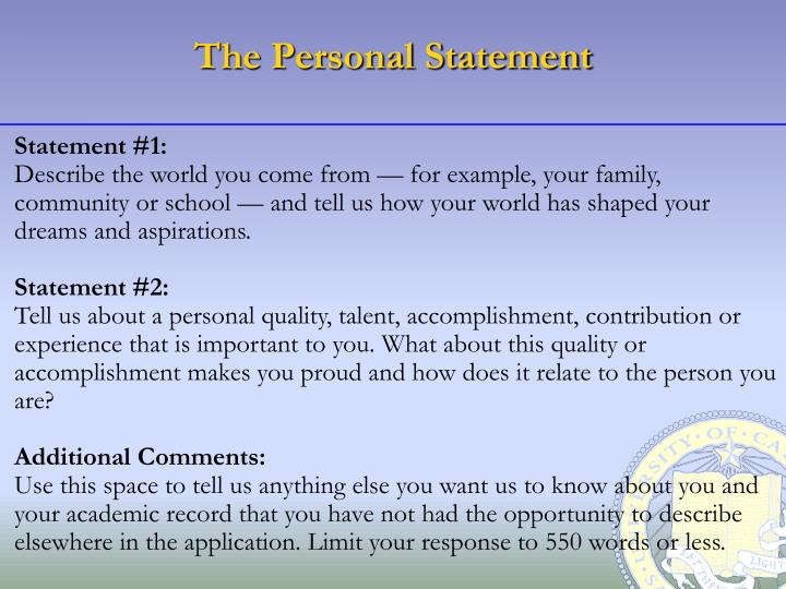 The Personal Statement