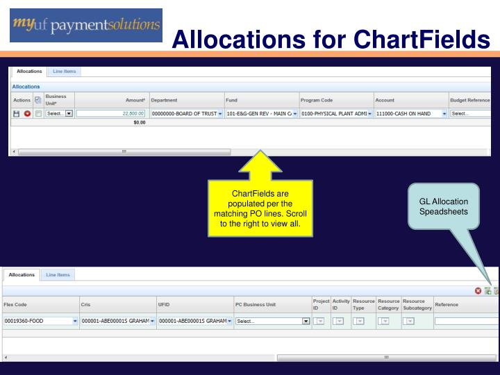 Allocations for ChartFields
