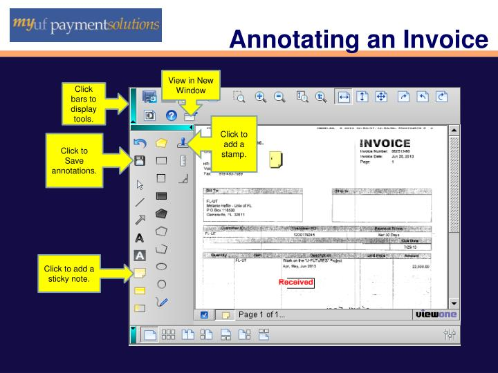 Annotating an Invoice