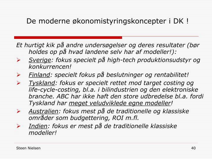 De moderne økonomistyringskoncepter i DK !