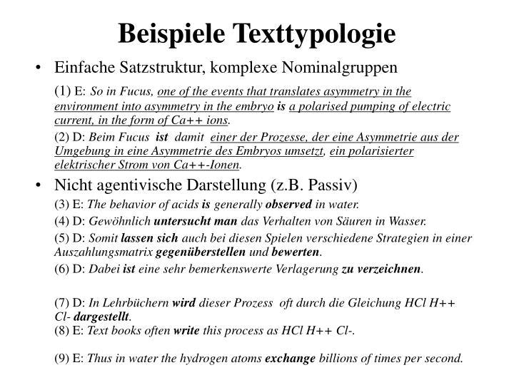 Beispiele Texttypologie