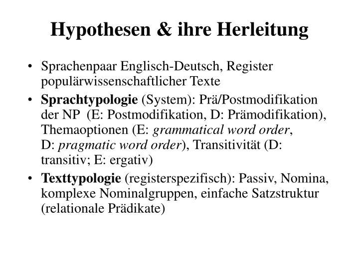 Hypothesen & ihre Herleitung