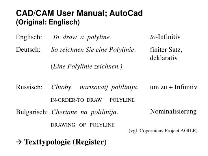 CAD/CAM User Manual; AutoCad