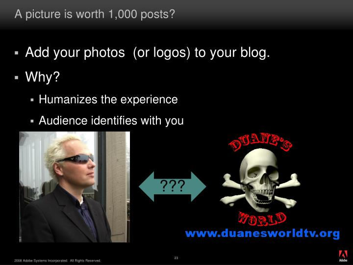 A picture is worth 1,000 posts?