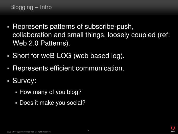Blogging intro