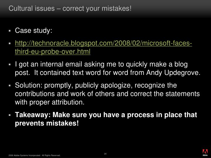 Cultural issues – correct your mistakes!