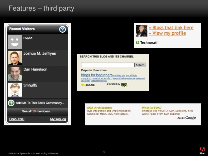 Features – third party