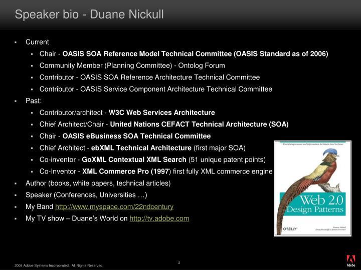 Speaker bio duane nickull