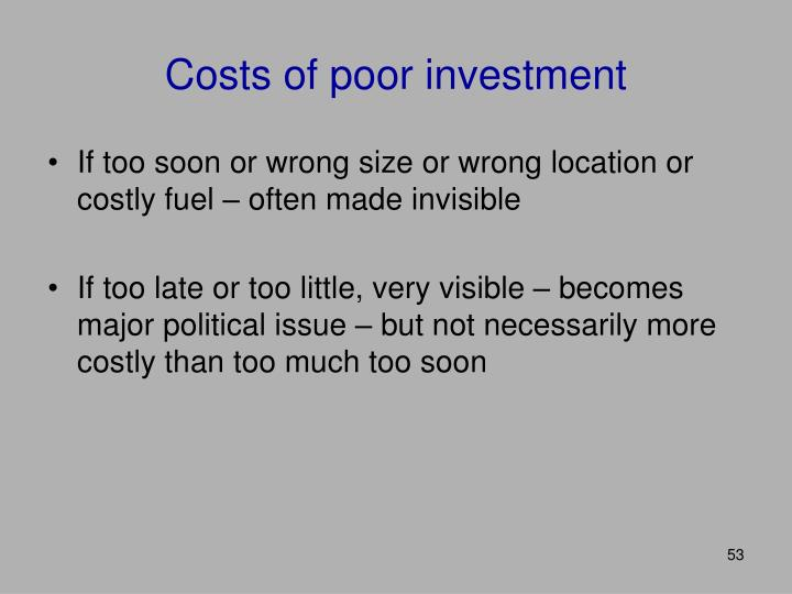 Costs of poor investment