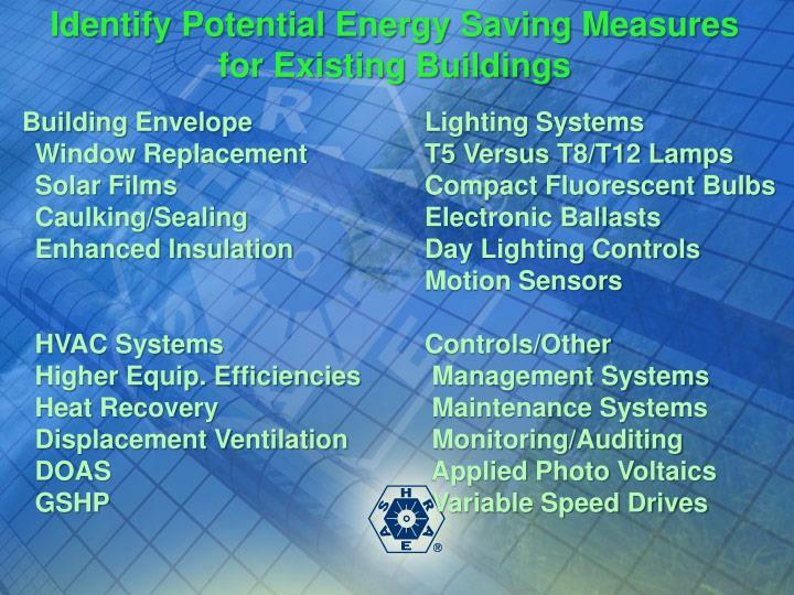 Identify Potential Energy Saving Measures for Existing Buildings