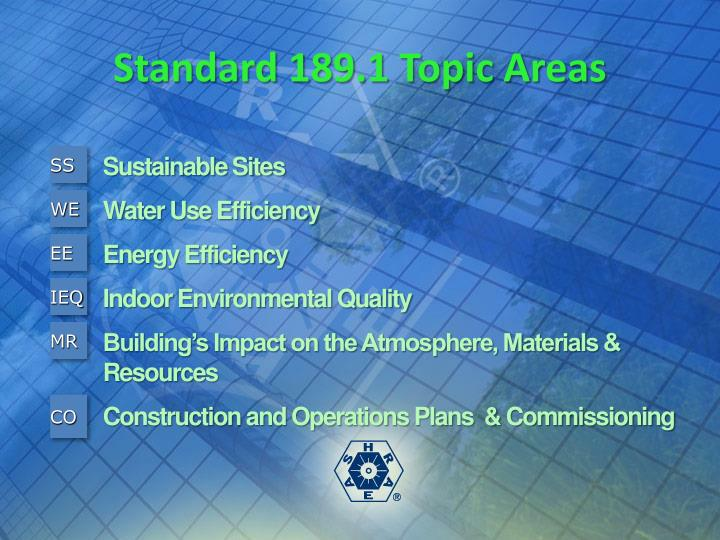 Standard 189.1 Topic Areas
