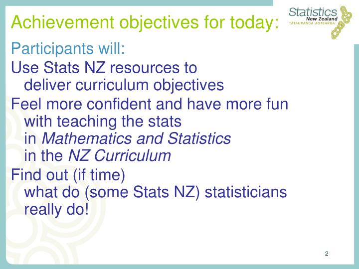 Achievement objectives for today