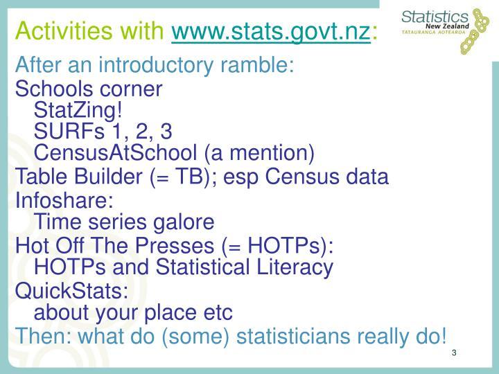 Activities with www stats govt nz