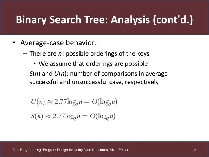 Binary Search Tree: Analysis (cont'd.)