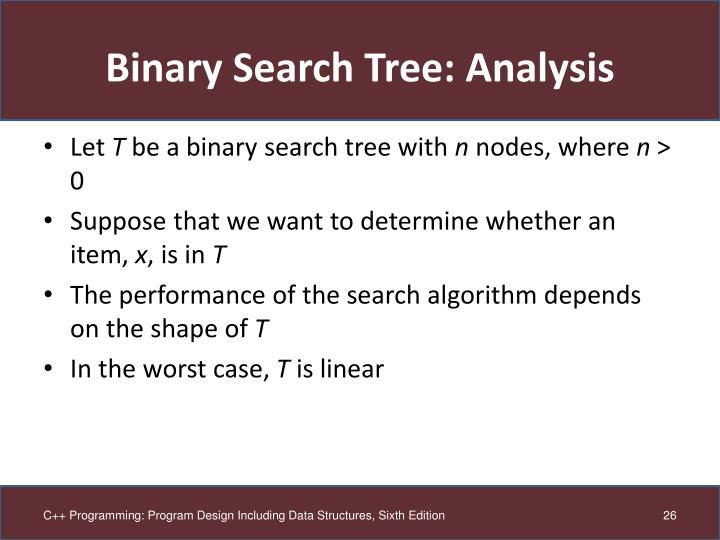 Binary Search Tree: Analysis