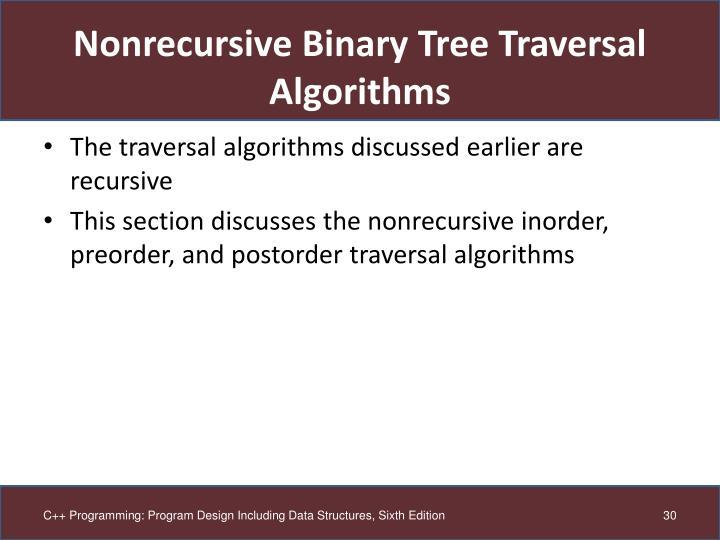 Nonrecursive Binary Tree Traversal Algorithms
