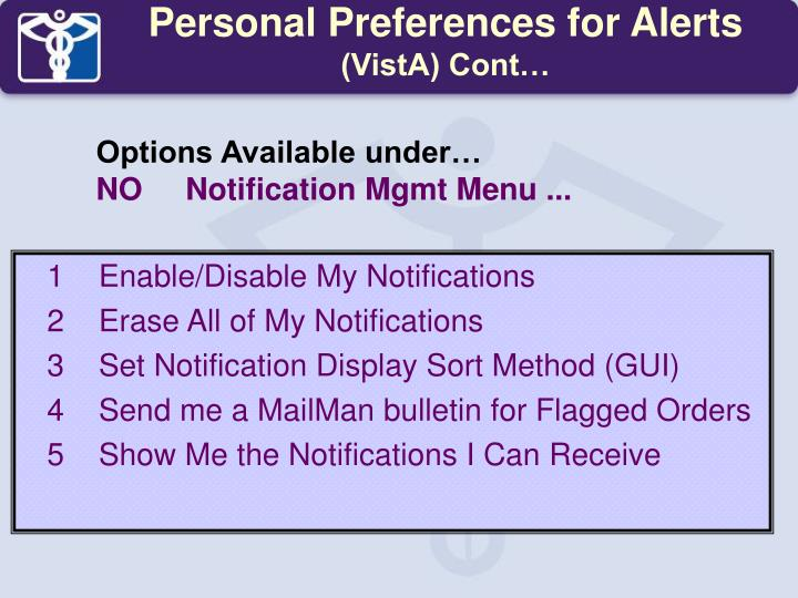 Personal Preferences for Alerts