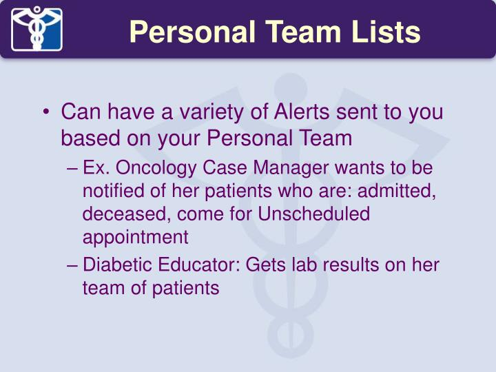 Personal Team Lists