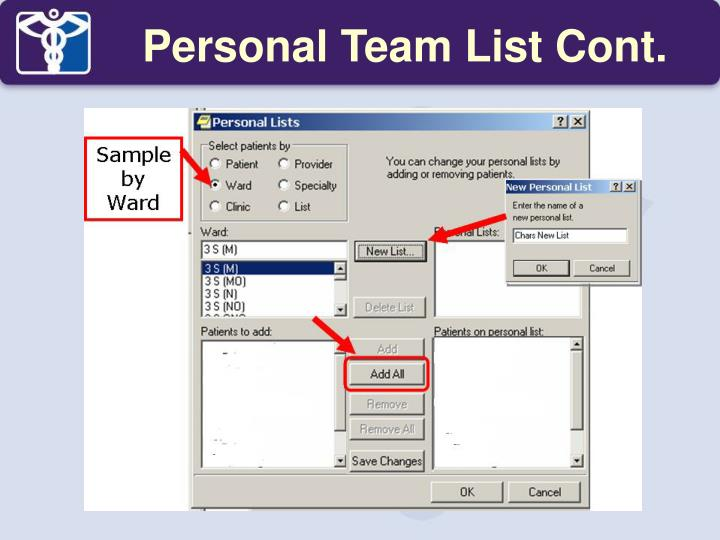 Personal Team List Cont.